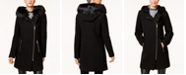 Calvin Klein Faux-Fur-Trim Asymmetrical Walker Coat