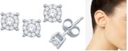 Macy's Diamond Halo Cluster Stud Earrings (1/10 ct. t.w.) in 10k White Gold