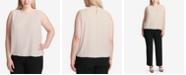 Calvin Klein Plus Size Pleated Bubble Top