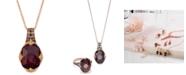 "Le Vian Raspberry Rhodolite Garnet (6-9/10 ct. t.w.) and Diamond (3/8 ct.t.w.) 18"" Pendant Necklace in 14K Rose Gold"