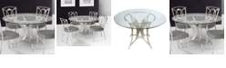 Armen Living Drake Modern Dining table:  In Stainless Steel With Clear Glass