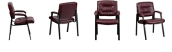 Flash Furniture Burgundy Leather Executive Side Reception Chair With Black Metal Frame