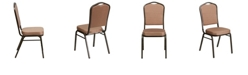 Flash Furniture Hercules Series Crown Back Stacking Banquet Chair In Gold Diamond Patterned Fabric - Gold Vein Frame