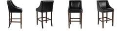 """Flash Furniture Carmel Series 30"""" High Transitional Walnut Barstool With Accent Nail Trim In Black Leather"""