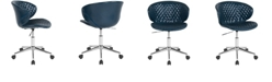 Flash Furniture Cambridge Home And Office Upholstered Mid-Back Chair In Blue Vinyl