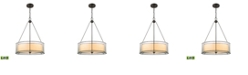 ELK Lighting Mirage 3 Light Chandelier in Tiffany Bronze with Off-White Art Glass and Seedy Glass