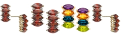Macy's Multi-Gemstone (4-2/3 ct. t.w.) & Diamond (1/10 ct. t.w.) Drop Earrings in 14k Gold(Also Available in Garnet)