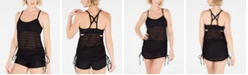 GO by Gossip Mix & Mesh Convertible Crocheted Tankini Top