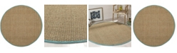 Safavieh Natural Fiber Natural and Teal 6' x 6' Sisal Weave Round Area Rug