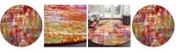 "Safavieh Watercolor Orange and Green 6'7"" x 6'7"" Round Area Rug"