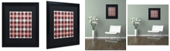"Trademark Global Jennifer Nilsson Red Gray Check Matted Framed Art - 16"" x 20"" x 0.5"""