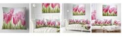 "Design Art Designart 'Tulips In A Row' Floral Throw Pillow - 16"" x 16"""