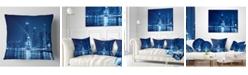 "Design Art Designart 'Blue Chicago Skyline Night' Cityscape Photo Throw Pillow - 16"" x 16"""