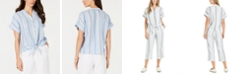 Charter Club Linen Striped Tie Top, Created for Macy's