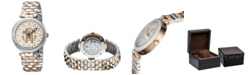 Roberto Cavalli By Franck Muller Women's Swiss Quartz Mother of Pearl and Floral Design Dial Two-Tone Rose Gold Stainless Steel Bracelet Watch, 34mm