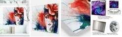 "Design Art Designart 'Woman With Rose Illustration' Abstract Metal Artwork - 20"" X 12"""