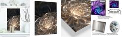 """Design Art Designart 'Fractal Flower With Golden Rays' Floral Metal Wall Art - 12"""" X 20"""""""