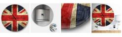 Design Art Designart Oversized Global Round Metal Wall Clock