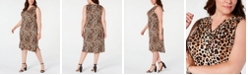 NY Collection Petite Plus Size Animal-Print Dress