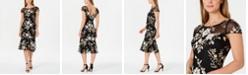 Calvin Klein Embellished Flounce-Hem Midi Dress