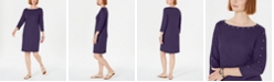 Karen Scott Cotton Studded 3/4-Sleeve Shift Dress, Created for Macy's