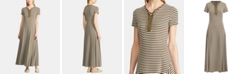 Lauren Ralph Lauren Stripe-Print Lace-Up Jersey Maxidress