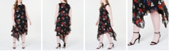 Calvin Klein Plus Size Floral Printed Chiffon Midi Dress