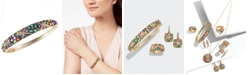 EFFY Collection Watercolors by EFFY® Multicolor Sapphire (7-5/8 ct. t.w.) and Diamond (1/4 ct. t.w.) Starfish Bangle in 14k Gold, Created for Macy's