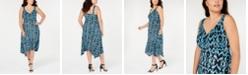 INC International Concepts INC Plus Size Printed Sleeveless Handkerchief-Hem Dress, Created for Macy's