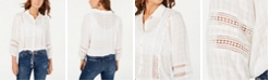 American Rag Juniors' Crochet-Trimmed Textured Top, Created for Macy's