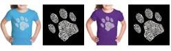 LA Pop Art Girl's Word Art T-Shirt - Dog Paw