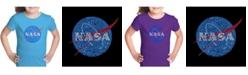 LA Pop Art Girl's Word Art T-Shirt - Nasa's Most Notable Missions