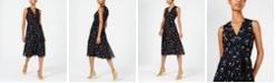 Anne Klein Floral-Print Pleated A-Line Dress