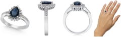 Macy's Sapphire (1-3/8 ct. t.w.) & Diamond (1/3 ct. t.w.) Ring in 14k White Gold