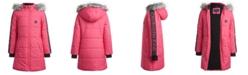 Calvin Klein Little Girls Hooded Puffer Jacket With Faux-Fur Trim
