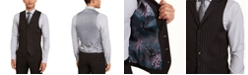 Sean John Men's Classic-Fit Stretch Black Pinstripe Suit Separate Vest
