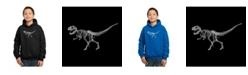 LA Pop Art Boy's Word Art Hoodies - Dinosaur T-Rex Skeleton