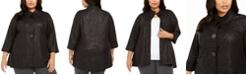 JM Collection Plus Size Zebra Print Jacquard Jacket, Created For Macy's