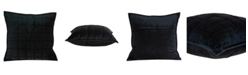 Parkland Collection Delos Transitional Black Solid Quilted Pillow Cover