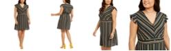 Monteau Plus Size Ruffle-Sleeve Fit & Flare Dress