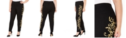 INC International Concepts INC Plus Size Gold Embroidered Pull-On Pants, Created For Macy's