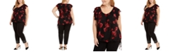 INC International Concepts INC Plus Size Tie-Hem Floral Ruffle Sleeve Blouse, Created For Macy's