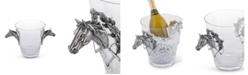 Vagabond House Hand-blown Glass Ice, Wine, Bucket with Solid Handcraft Pewter Horse Head Equestrian Bit Handles