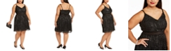 City Studios Trendy Plus Size Juniors' Metallic Fit & Flare Dress