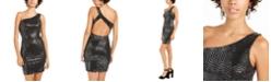 Sequin Hearts Juniors' One-Shoulder Sequined Dress