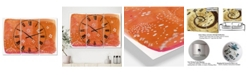 "Designart Indian Orange Composition Large Mid-Century 3 Panels Wall Clock - 23"" x 23"" x 1"""