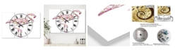 "Designart Flamingo Composition of Flamingo Large Cottage 3 Panels Wall Clock - 23"" x 23"" x 1"""