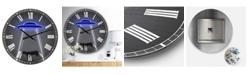 "Designart Neon Ufo Abducting Cow Oversized Modern Wall Clock - 38"" x 38"" x 1"""