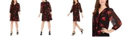 Calvin Klein Floral-Print Pleated Chiffon Dress