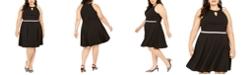 Emerald Sundae Trendy Plus Size Rhinestone Keyhole Fit & Flare Dress
